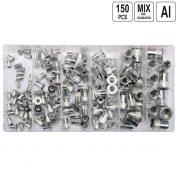 Set piulite nituibile din aluminiu 150 buc - YT-36460