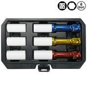 Set tubulare de impact lungi cu protectie de plastic pentru Janta de Aluminiu - 6 buc - YT-10563